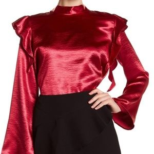 NWT! FREE PRESS CUTE SATIN RED L/S BLOUSE SIZE S